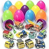 Œufs de Pâques remplis de camions et Machines du BTP rétractables de la Marque Prextex