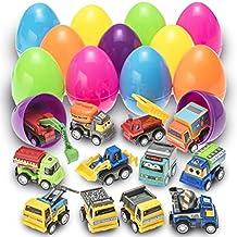 Prextex Huevos de Pascua de Juguete Rellenos con Vehículos de Construcción ...
