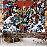Tappeto da parete in stile giapponese, rosso Hannya, stile creativo Oni Samurai, da parete 59 * 51in Motivo 3