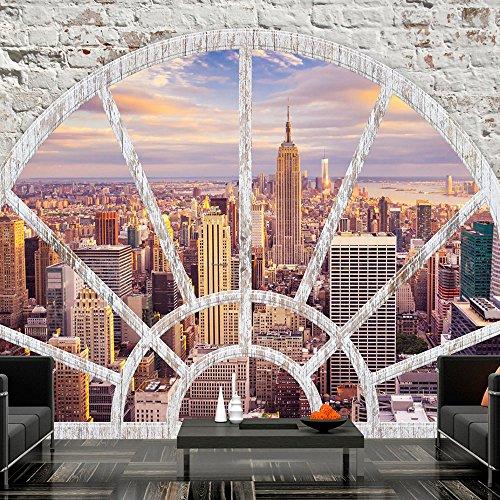 murando – Papier peint intissé 200x140 cm – Trompe l oeil – Tableaux muraux déco XXL – Ville New York Fenetre d-A-0043-a-c