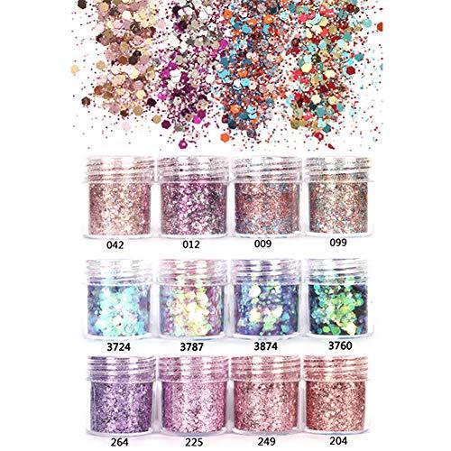 GCOA Set di polvere glitter per unghie, Glitter Cosmetici Lustrini 3D Brillantini Decorazioni per Ombretto,Trucco, Nail Art, 12 colori assortiti