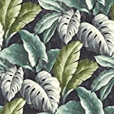 Grandeco Botanisch Tropische Blätter Muster Tapete Baum Blatt Texturiert Motiv - Blau BA2404