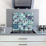 gsmarkt | Herdabdeckplatten Ceranfeldabdeckung Spritzschutz Glas 60x52 Textura Blau Blumen
