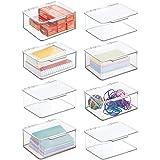 mDesign organiseur bureau pour ranger stylos, bloc-notes, etc. (lot de 8) – boite de rangement en plastique sans BPA – boite