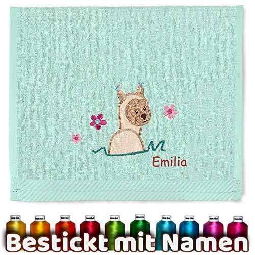 Sterntaler Kinder/Baby Handtuch mit Namen bestickt, Mädchen Kinderhandtuch personalisiert, Geschenk Geburtstag, Weihnachtsgeschenk, Ostern, Taufe (Lama Mintgrün)