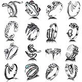 Y2K Open Rings Set Knuckle Stacking Ring Snake Ring Boho Finger Rings for Women Men Girls