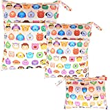 Damero 3pcs Dry Bag pacchetto Wet per pannolini di stoffa pannolino Bag Daycare sacchetto dell'organizzatore, animali del fumetto