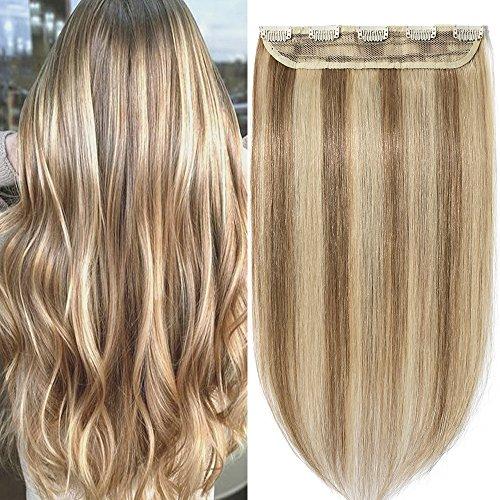 Extension capelli veri clip mèches fascia unica one piece remy human hair lunga 50cm pesa 50g, #12/613 marrone chiaro/ biondo chiarissimo