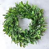 paletur88 Flores Hojas Verdes Corona, Realista Artificial Hojas Verdes Corona Flores Puerta Colgante Pared Decoración para Ventana - Verde, (Approx) 30cm