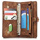iPhone/Samsung Leder Handytasche iPhone 6/6S/7/6 Plus/6S Plus/7 Plus/S7/S7Edge S8/S8 Plus Case Hülle Geldbörse mit Kartenfach abnehmbar Magnet Handy Schutzhülle