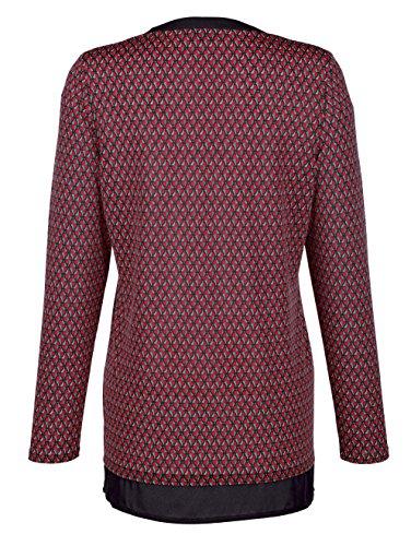 Damen 2-in-1 Bluse in kontrastfarbener Verarbeitung by Paola kirschrot/ schwarz