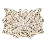 Bonjanvye Shining Butterfly Shape Handbags for Ladies Evening Clutch Purse Bag Gold