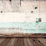 YongFoto 3x3m Foto Hintergrund Distressed Peeling Shabby Mauer im Freien und Holzboden gebrochen Ziegel Fotografie Hintergrund Photo Booth Erwachsene Kinder persönliche Portrait Studio Requisiten