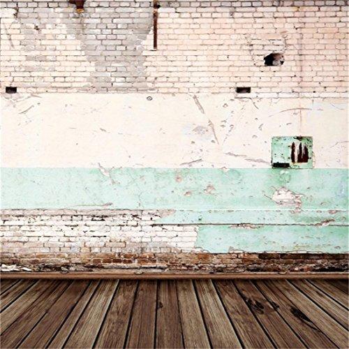 Distressed Holzböden (YongFoto 3x3m Vinyl Foto Hintergrund Distressed Peeling Shabby Mauer im Freien und Holzboden gebrochen Ziegel Fotografie Hintergrund für Photo Booth Erwachsene Kinder persönliche Portrait Studio Requisiten)