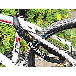 Candado de Bicicleta, Rixow Candado de Combinación de Bicicleta Candado de Cable Cadena Plegable Bloqueo de Contraseña, Negro