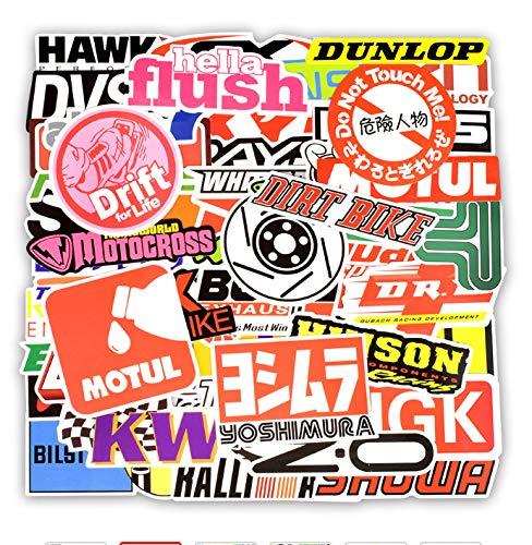 DZCYAN 50 PCS Racing Car Stickers Car Styling JDM Waterproof Sticker to DIY Motocross Racing Helmet Skateboard Bicycle Laptop Luggage