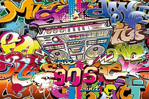 Daniu 90 themed Party Hintergrund Graffiti Vinyl Fotografie Kulissen Foto für Studio Requisiten 7x5FT Daniu-dn022