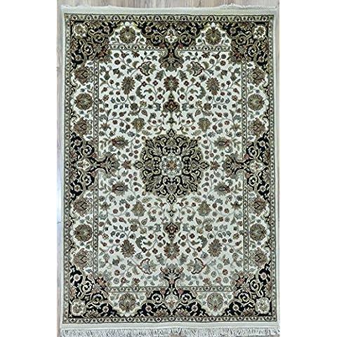 Splendid Indian Art color de lana hechos a mano marfil negro área de alfombra persa alfombra