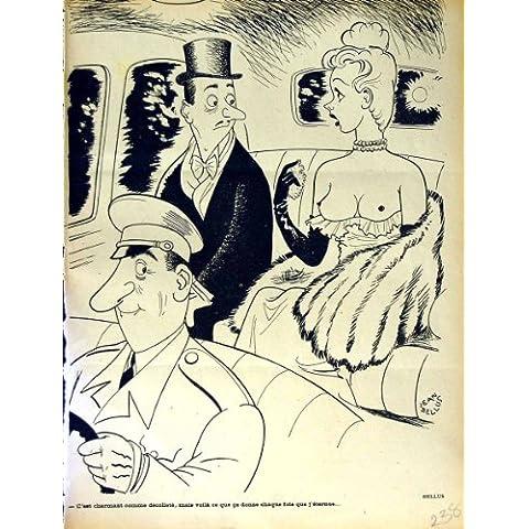 Impresión Antigua de la Señora Desnuda Romántica Coche de la Revista del Humor de Le Rire French