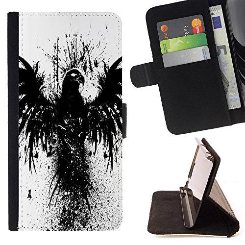 Kobe Diy Case / For Apple Iphone 4 / 4S Crow Raven Black Bird Wings Graffiti Stencil Folio PU Wallert Leather Case (Jordan Stencil)