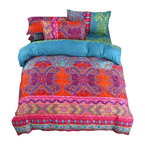 Shamdon Home Collection 100% Microfaser Bohemian Stil Bettbezug Bettwäsche-Set,mit Betttuch Kissenbezug in viele Farbe -
