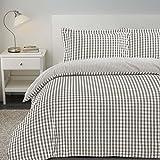 Nimsay Home, set di biancheria da letto reversibile, lussuoso, a quadretti, 100% cotone filato tinto T200, con copripiumino e federe, Clay, Doppio