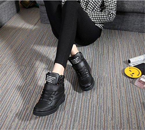 Ladies Sneakers Wedge Sneaker Wedges Bottines à lacets Chaussures Plateau Sneaker Noir