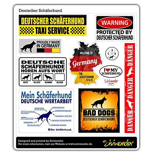 Siviwonder Auto Sticker COLLECTION SET 10 Aufkleber Deutscher SCHÄFERHUND WARNING ALARMANLAGE Hundeaufkleber reflex
