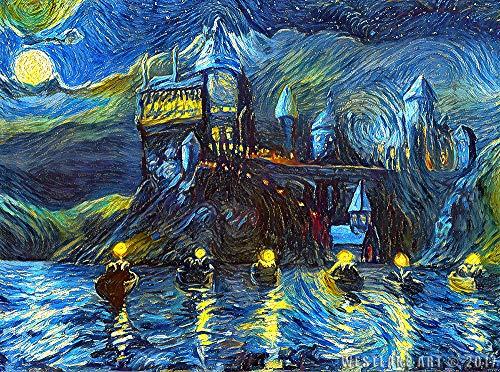 Westlake Art Starry Night Castle Night Boats-11x17 Stampa Artistica-Magico Mercanzia, Van Gogh Notte Stellata, Fan, Compleanno, Regalo-Unframed 11x17 Pollici