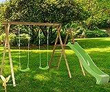 Woodinis-Spielplatz® 18516-2 - Doppelschaukel Holz mit Schaukel Podest, inklusive Rutsche und 2 Schaukelsitze, grün