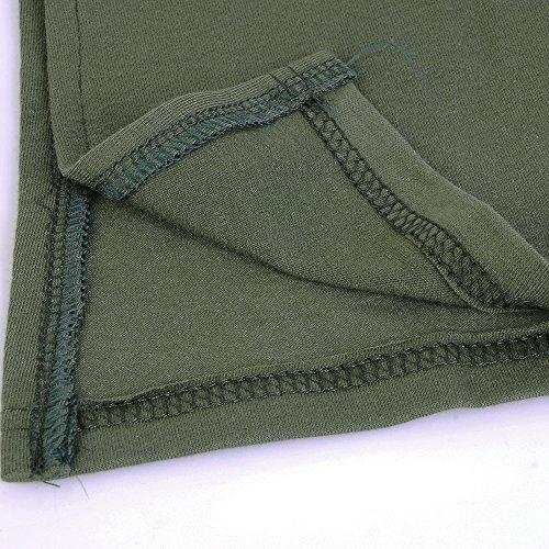 Dihope Femme Printemps Automne Top à Manches Longues Couleur Unie T-Shirt Casual Tee-Shirt Col Rond Haut Vert