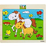 #9: Vibgyor Vibes Wood Jigsaw Puzzles for small Children Kids. Pack of 6 Different Patterns with 15 Piece Puzzle in a Frame Board. (18X15Cm) (Random Patterns will be sent) (Pack of 6)