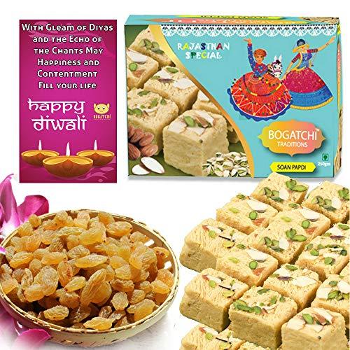 BOGATCHI Diwali Gift Combo – Soan Papdi, 250g with Natural Raisins, 100g