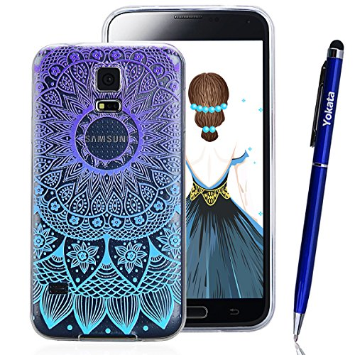 Samsung Galaxy S5 / S5 Neo Hülle, Yokata TPU Silikon Weich Cover Durchsichtig mit Gradient Mandala Tribal Muster Case 1 x Kapazitive Feder Iphone 6 Hello Kitty Case Bling