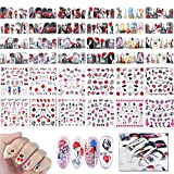 24 Blatt gemischt Nail Art Sticker, Mwoot Nail Art Wassertransfer Aufkleber Home Nageldesign Maniküre Decals mit Valentine Muster Sexy Hearts Kiss Lips für Frauen Party Favors DIY Nagelspitzen Decals