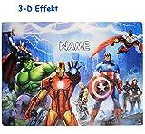 alles-meine.de GmbH 3-D Effekt __ Unterlage -  The Avengers Assemble  - Incl. Name - als Tischun..