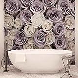 ForWall Fototapete Vlies Tapete Rosen Blumen Lila Weiss Design Tapete Moderne Wanddeko  416 cm x 254 cm Photo Wallpaper Mural 1626VEXXXL  TAPETENKLEISTER INKLUSIVE