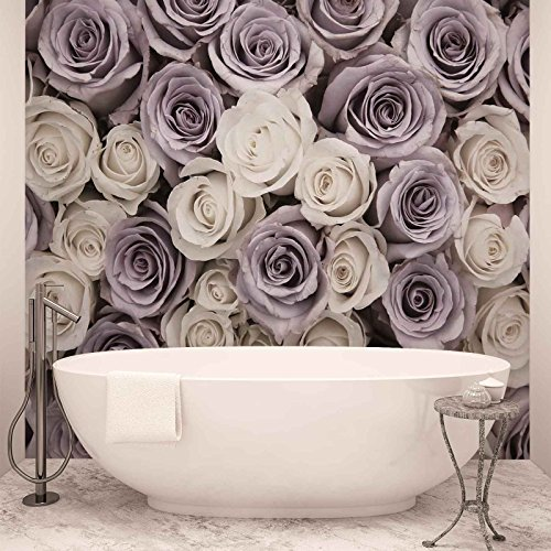 *ForWall Fototapete Vlies Tapete Rosen Blumen Lila Weiss Design Tapete Moderne Wanddeko  416 cm x 254 cm Photo Wallpaper Mural 1626VEXXXL  TAPETENKLEISTER INKLUSIVE*