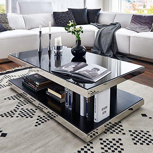 Moebella Couchtisch schwarzglas Chrom echtholzfurnier Glasgow Designer Wohnzimmertisch