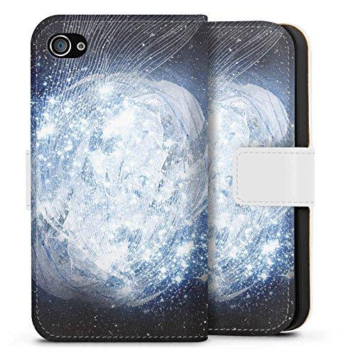 Apple iPhone X Silikon Hülle Case Schutzhülle Universum Galaxie Dimension Sideflip Tasche weiß