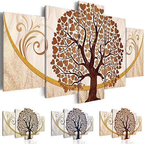 Quadro 100x50 cm - Tre colori da scegliere - 5 Parti - Quadro su tela fliselina - Stampa in qualita fotografica - albero amore ornamento astrazione b-C-0073-b-p 100x50 cm B&D