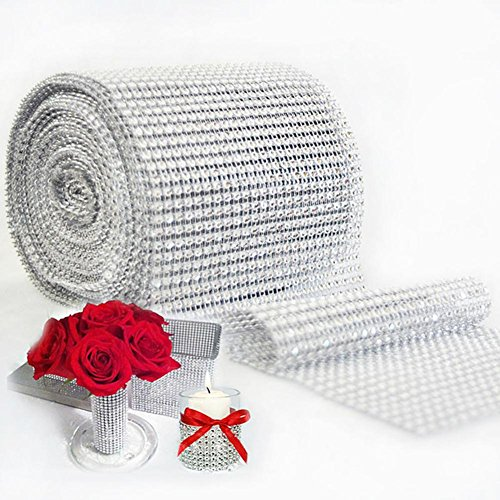 10Yard 900 cm Netzsaum Bling Diamant Wrap Kuchen Rolle Tüll Kristall Bänder Party Hochzeit Dekoration Event Party Supplies silber (Wrap Band Diamant)
