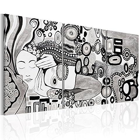 murando - Impression sur toile 120x60 cm - Image sur toile - Images - Photo - Tableau - 3 pieces - motif moderne - Décoration - tendu sur chassis - abstraction abstrait Gustav Klimt Baiser a-A-0272-b-e