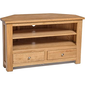 quality design e0bf6 1a6d9 Hallowood Waverly 2 Corner TV Stand in Light Oak Finish| Media Cabinet |  Entertainment Table | Solid Wooden Drawered Unit, One Size