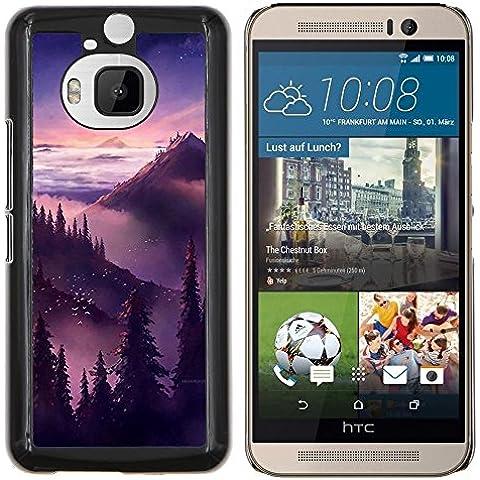 Puesta de sol salida del sol Montañas Árboles- Metal de aluminio y de plástico duro Caja del teléfono - Negro - HTC One M9+ / M9 Plus (Not