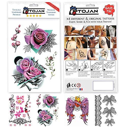 Tatuaggi temporanei adulti donna / confezione da 4 tatuaggi differenti in tonalità femminili e sexy / resistenti all'acqua, adesivo sexy rose rosse, tatuaggi per ragazze femminili.