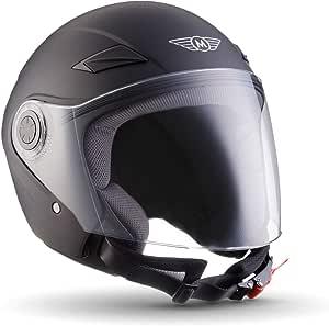 MOTO U52 Matt White /· Retro Bobber Vespa-Helm Jet-Helm Roller-Helm Chopper Scooter-Helm Pilot Biker Vintage Cruiser Helmet Mofa Motorrad-Helm /· ECE zertifiziert /· mit Visier /· inkl Stofftragetasche /· Wei/ß /·