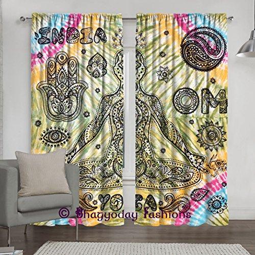 Indische Hippie Tuch Balkon Room Decor Vorhang, Tie Dye Yoga Print Mandala Fenster Vorhang Behandlung & Panel Set Einrichtung 213,4x 203,2cm durch bhagyoday Fashions (Dye Pro Tie)
