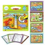 Jenilily Magic Water Zeichnung Buch Wasser Malbuch Doodle mit Magic Pen Malerei Board für Kinder Bildung Zeichnung Spielzeug (Dinosaurierwelt)