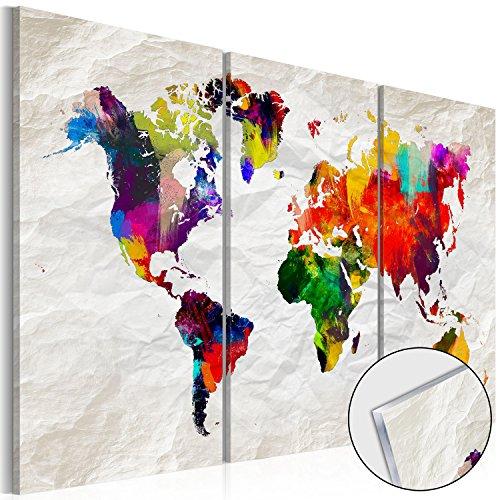 murando - Acrylglasbild Weltkarte 120x80 cm - 3 Teilig - Bilder Wandbild - modern - Decoration k-A-0122-k-e